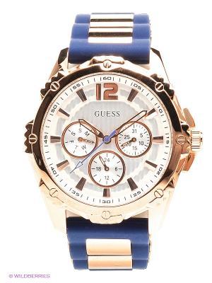 Часы GUESS. Цвет: золотистый, синий