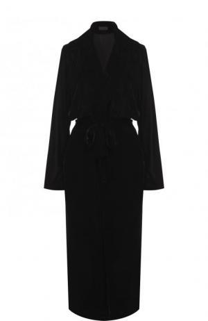 Однотонное бархатное пальто с поясом RTA. Цвет: черный