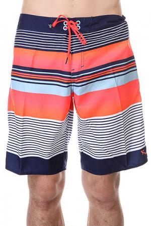 Шорты пляжные  Fishbone Ind Lost. Цвет: синий,белый,оранжевый