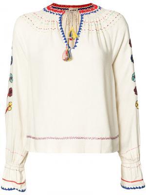 Блузка с вышивкой Ulla Johnson. Цвет: телесный