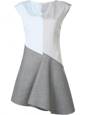 Асимметричное платье дизайна колор-блок Vionnet. Цвет: синий