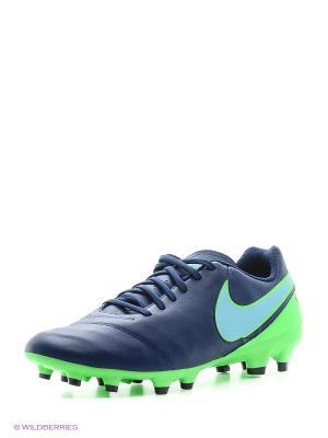 Бутсы TIEMPO GENIO II LEATHER FG Nike. Цвет: синий