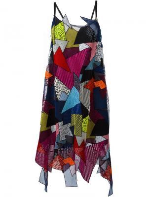 Платье лоскутного кроя Christopher Kane. Цвет: многоцветный