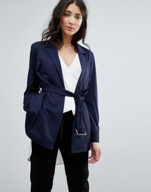 Unique 21 Куртка с ремнем. Цвет: темно-синий