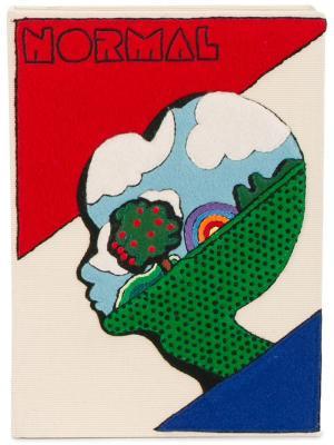 Вышитый клатч-книга Normal Alien Olympia Le-Tan. Цвет: телесный