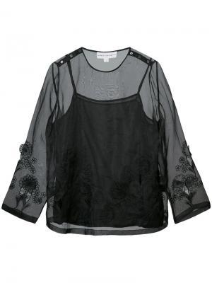 Блузка с прозрачным слоем Robert Rodriguez. Цвет: чёрный