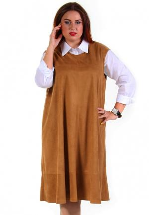 Платье Luxury Plus. Цвет: коричневый