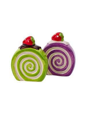 Набор солонка и перечница  Бисквит Elff Ceramics. Цвет: зеленый, фиолетовый