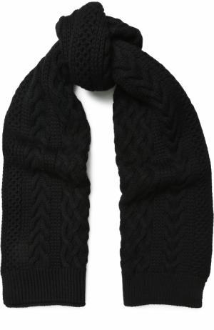 Шерстяной шарф фактурной вязки Junya Watanabe. Цвет: черный