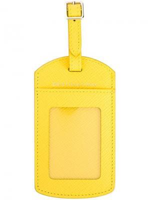 Багажная бирка Smythson. Цвет: жёлтый и оранжевый