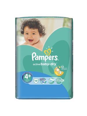 Подгузники Active Baby-Dry 9-16 кг, 4+ размер, 18 шт. Pampers. Цвет: зеленый