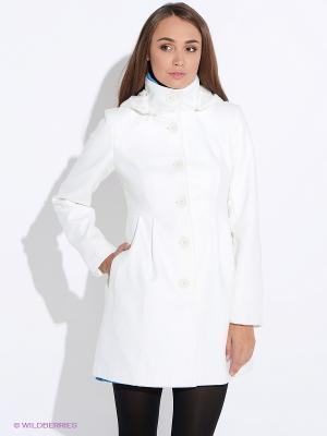 Пальто Oodji. Цвет: молочный