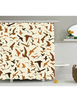 Фотоштора для ванной Голубая хвоя, чёрный олень, ванная с окнами, коричневые птицы , 180x200 см Magic Lady шв_11370