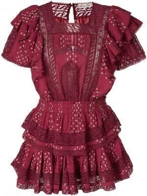 Платье с вышивкой и оборками Love Shack Fancy. Цвет: розовый и фиолетовый