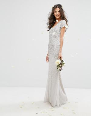 Amelia Rose Декорированное платье макси с короткими рукавами. Цвет: серый