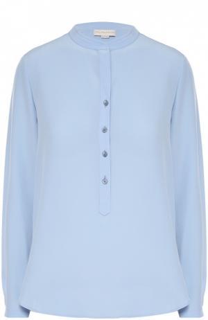 Прямая шелковая блуза с воротником-стойкой Stella McCartney. Цвет: голубой