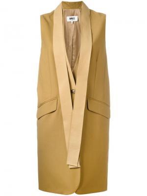 Жакет с лацканами-шалька без рукавов Mm6 Maison Margiela. Цвет: телесный