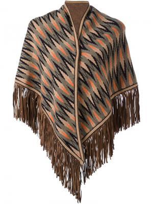 Кашемировая накидка с бахромой Antonia Zander. Цвет: коричневый