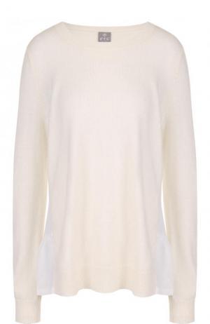 Однотонный кашемировый пуловер с круглым вырезом FTC. Цвет: белый