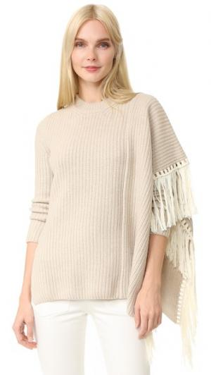 Объемный свитер с бахромой EDUN. Цвет: белый