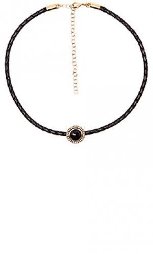 Плетенный чокер с полудрагоценным круглым камнем Jacquie Aiche. Цвет: черный