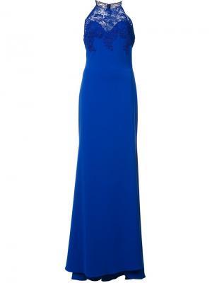 Long halter-neck dress Badgley Mischka. Цвет: синий
