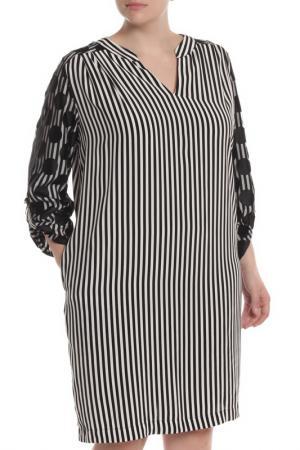 Свободное платье с гипюром 22 MAGGIO. Цвет: чёрный, полосы
