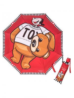 Зонт складной Moschino 7050-OCC Bear Olivia Red. Цвет: светло-коричневый, белый, красный