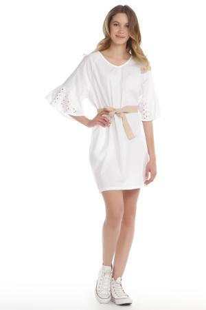Свободное платье со съемным поясом SLEEK CHIE. Цвет: белый