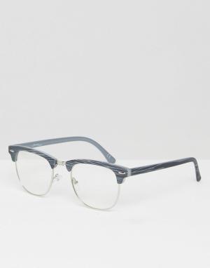 Jeepers Peepers Очки с прозрачными стеклами Greywood. Цвет: серый