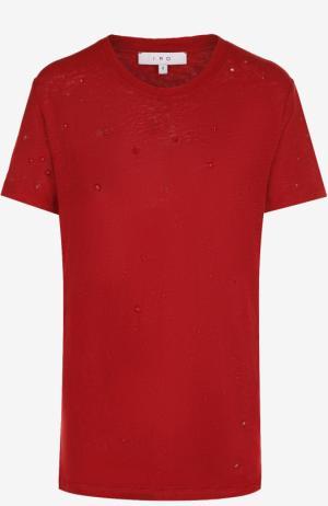 Льняная футболка с круглым вырезом Iro. Цвет: красный