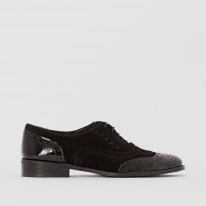 Ботинки-дерби кожаные из двух материалов R studio. Цвет: черный
