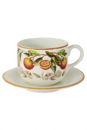 Чашка с блюдцем Апельсины LCS. Цвет: мультиколор