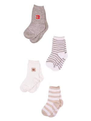 Носки, 4 пары Malerba. Цвет: бежевый, белый