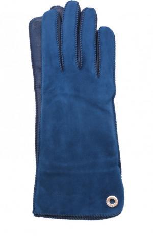 Перчатки Jacqueline из кожи и замши Loro Piana. Цвет: темно-синий