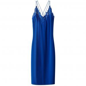 Платье длинное, на тонких бретелях и с отделкой кружевом SUNCOO. Цвет: синий,черный