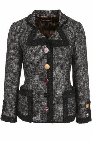 Приталенный жакет с декорированными пуговицами Dolce & Gabbana. Цвет: серый