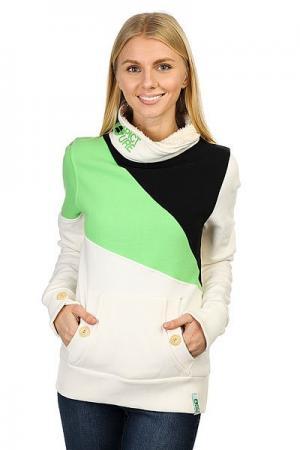 Толстовка кенгуру женская  Muesli White/Green/Black Picture Organic. Цвет: белый,зеленый,черный