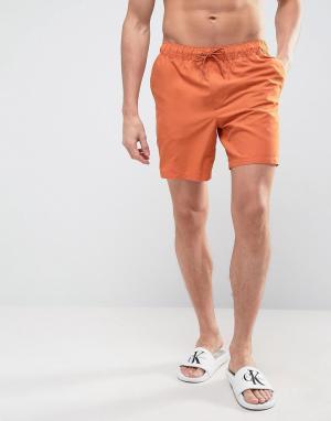 ASOS Оранжевые шорты для плавания средней длины. Цвет: серый