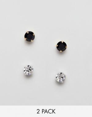 Krystal London 2 пары серег-гвоздиков с кристаллами Swarovski. Цвет: черный