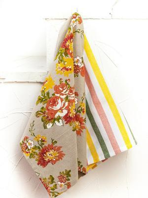 Набор полотенец ARLONI. Цвет: белый, зеленый