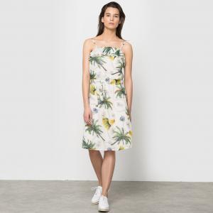 Платье с тонкими бретелями, из вуали рисунком в виде пальм COLOR BLOCK. Цвет: экрю/рисунок