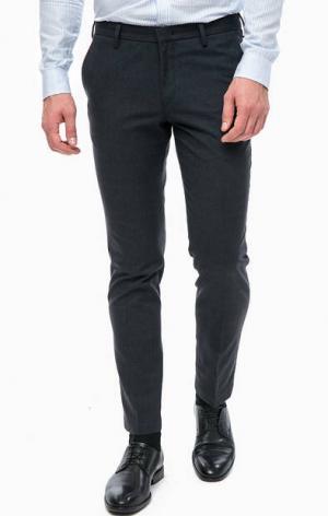 Синие брюки зауженного кроя Pierre Cardin. Цвет: синий