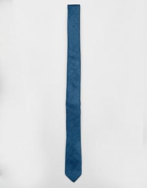 ASOS Сине-зеленый узкий фактурный галстук. Цвет: темно-синий