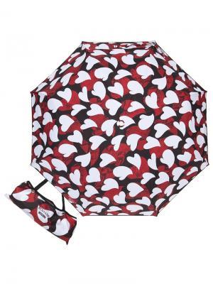 Зонт складной Moschino 7115-OCA Python Hearts Black. Цвет: черный, белый, красный