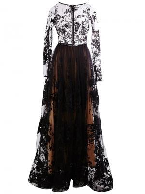 Прозрачное платье с вышивкой Zuhair Murad. Цвет: чёрный