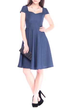 Легкое льняное платье расклешенногоо силуэта Dioni. Цвет: темно-синий