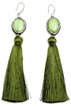 Серьги Asavi Jewel. Цвет: зеленый, серебряный, белый