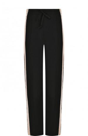 Укороченные брюки прямого кроя с контрастными лампасами Isabel Marant Etoile. Цвет: черный