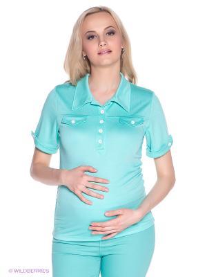 Футболка-поло для беременных 40 недель. Цвет: бирюзовый